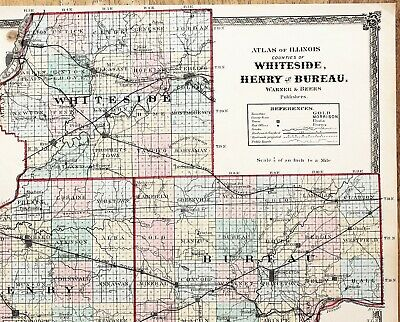 1875 Whiteside Bureau Henry Illinois Map Princeton Railroads ORIGINAL RARE