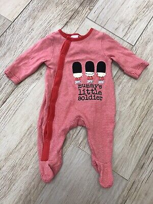 """Baby Boys Blue Zoo """"Mummys Little Solider"""" Red Babygrow 0-3 Months"""