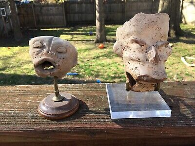 2 Authentic Antique Rare Pre-Columbian Mexico Terracotta Face Figure Aztec/Mayan
