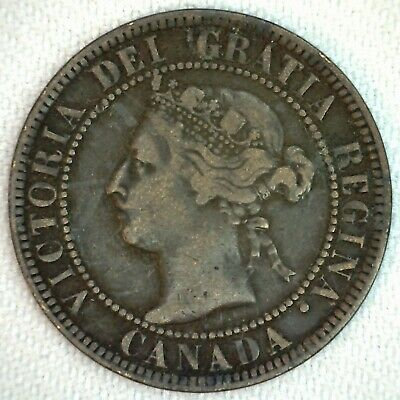 1896 Canada Large Cent One Cent Bronze Coin 1c Canadian Coin Very Fine