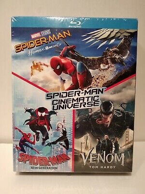 Coffret 3 Blu Ray Spider-Man Homecoming/Spider-Man New Generation/Venom Neuf