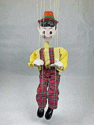 Vintage Antique Puppet Pinocchio Marionette Hand Carved In Turkey