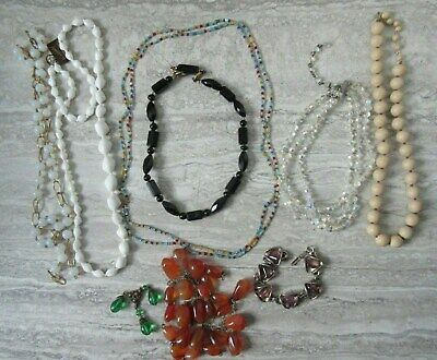 8 Old Vintage Antique Glass & Stones Costume Jewellery Necklaces