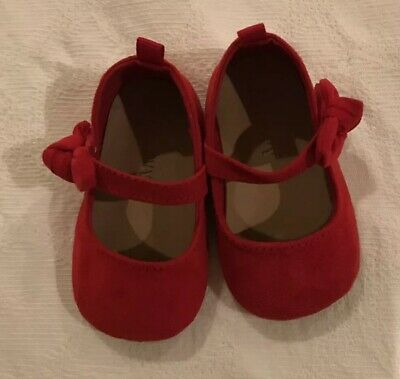 Old Navy Baby Girl's sz 3-6 Mo Red Mary Jane Shoes Bow NWOT