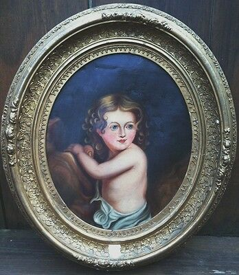19th c. Antique Oil Painting of Beautiful Young Girl in Original Frame