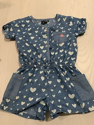 Limited Too  Girls Shorts Size 5 Denim Romper  With White Hearts Super Cute