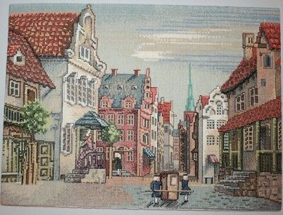 Dutch City Buildings Home Street Litter Cariage Cross Stitch Completed Finished