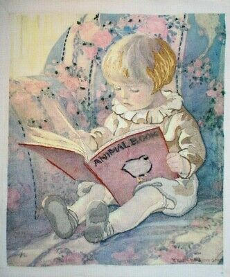 """Dimensions 1985 """"Favorite Book"""" Boy Reading Crewel Embroidery Completed Finished"""