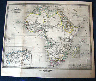 1864 MAP AFRICA inset ALGERIA+ multiple offshore ISLANDS antique folding French