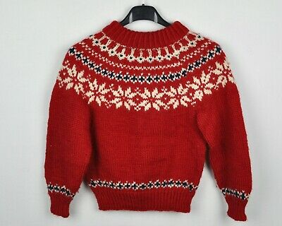 Dale Of Norway Kids 8 year Norwegian Red Sweater Pullover Wool Jumper VTG RBBe