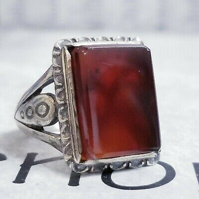 Antique middle eastern ring 925 Sterling Silver natural red kapidy Mens Ring