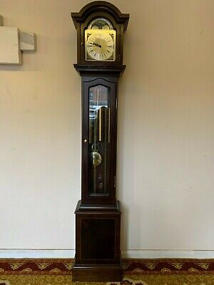 Quality Mahogany Triple Weight Granddaughter/Mother Clock With Rolling Moon