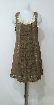 Cherry Retro Dress Crochet Lace Beige Brown Size S Pearls neck Victorian Boho