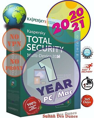 Antivirus Kaspersky Total Security 1 PC/Mac - 2020/2021 - World Wide - Instant