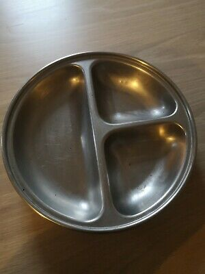 Stainless Steel 3-Compartments Divided Plate Food Serving Tray x5 10inch