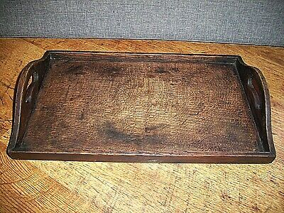 Antique Late 19th Century Solid Oak Servants Tray (Table Service Twin Handle)