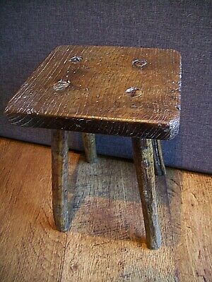 Antique 19th Century Primitive Four Legged Hand-Carved Oak Milking Stool (Dairy)