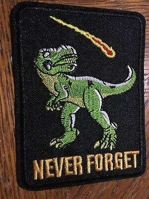 "Dinosaur Never Forget Embroidered Iron/Sew ON Patch Cloth 4"" x 3"""
