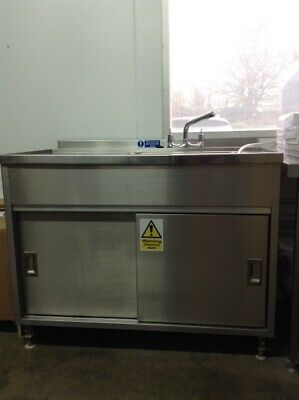 Stainless steel commercial sink unit with under cupboard and mixer tap