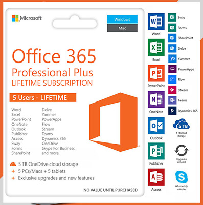 MS Office 365 Pro Plus 2019 2016 5 Device PC MAC Mobile Account 🔥 Not Key Code