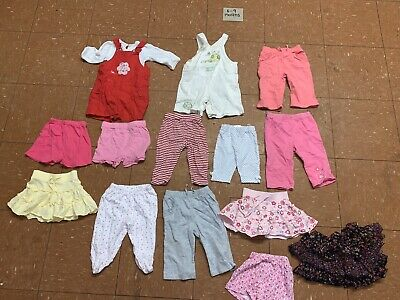 Baby Girls Clothes Bundle Age 6-9 Months Dungarees Skirt Shorts Tops
