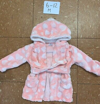 Girls Fluffy Pink Dressing Gown Age 6-12 Months