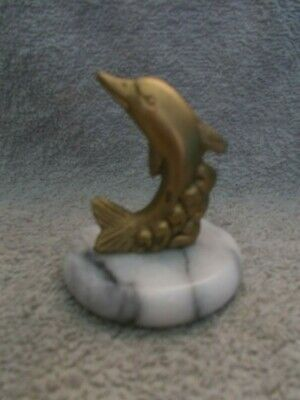 Vintage MCM Penco Marble Brass Dolphin Nautical Ocean Fish Paperweight