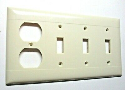 Sierra 4 Gang Combo Outlet Switch Wall Plate Cover Lines Ivory Bakelite Vintage