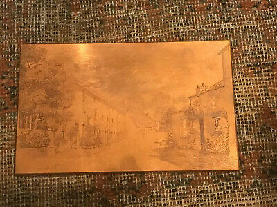 ANTIQUE COPPER ETCHED PRINTING PRESS PLATE. Scorton Lancashire By Charles Ripper