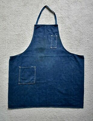 Vtg 50s 60s American Blue Selvedge Denim Workwear Chore Shop Apron USA