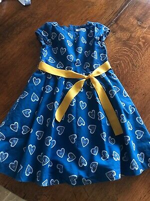 Girls blue with white heart dress age 4-5yrs