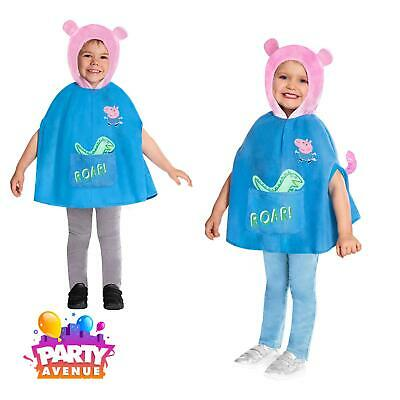 Boys Girls Toddler Peppa Pig George Hooded Poncho Cape Fancy Dress Costume
