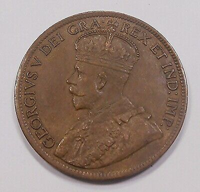 1919 Large Cent EF-AU * HIGH Grade BEAUTY King George V RAZOR Sharp Canada Penny