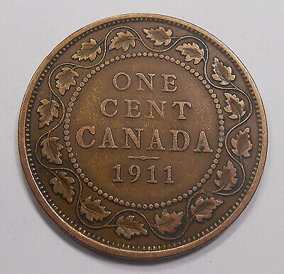1911 Large Cent F NICE 1st Year King George V KEY Date Only GODLESS Canada Penny