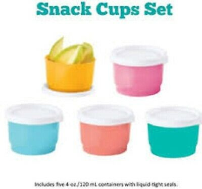 Brand New TUPPERWARE Snack Cups Set//4 Containers Yellow//White Airtight Seals #12