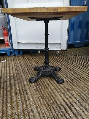 Cast Iron Pub Table  Bistro Patio Cafe Hardwood Period Old Reclaimed Top