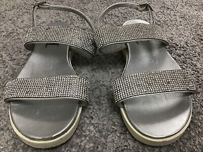 Xti The Pefect Pair Girls Sliver Diamonte Sandals Size 12
