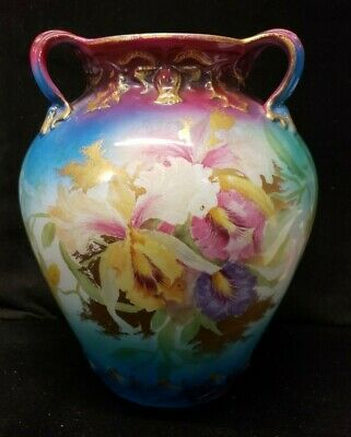 Purple Blue Gold Royal Bonn Three Handled Floral Vase (Dc1 1)