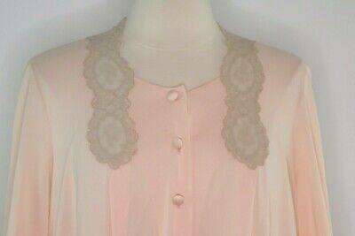 VTG Vanity Fair Peach Orange Silky Lace  Lingerie Robe Button Open Front Women S
