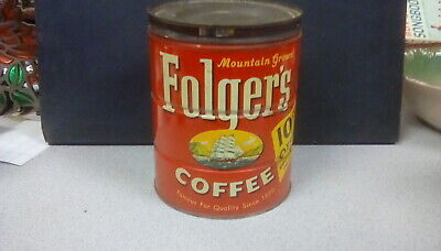 """Vintage Folgers Mountain Grown coffee can copyright 1959 6 12"""" height w/lid"""