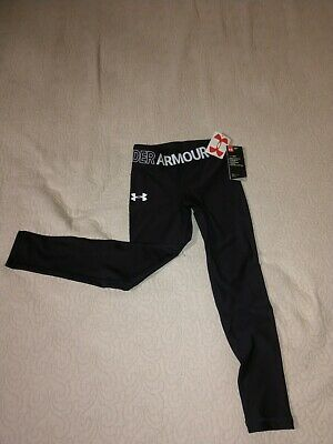 Under Armour Girls' HeatGear Armour Capris Black w/Logo Waist Band Youth Small