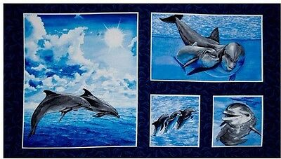 4 Beautiful Sea Life Panels With Dolphins For Quilts, Home Decor & Crafts #4