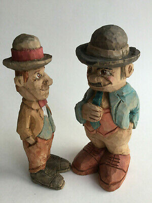 """Hand carved PAIR wooden Laurel and Hardy Award Winning Canadian Carver 7"""""""