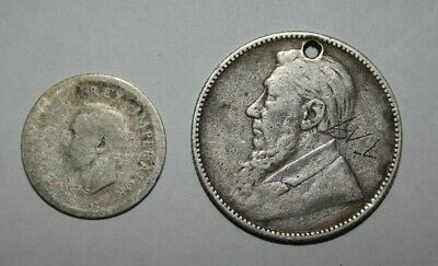 South Africa 1 Shilling 1895 (small hole drilled) and  S.A 3 pence (Tickey)1939