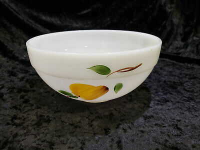 Mid Century Anchor Hocking Fire King Mixing Bowl Gay Fad Fruit Motif 7 1/2 Inch