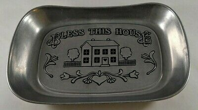 Wilton Armetale Serveware Bless This House Pewter Bread Tray Platter Serving