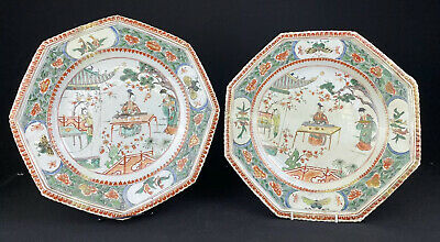 Lovely Pair Of Antique Chinese Kangxi Period Plates Famille Verte