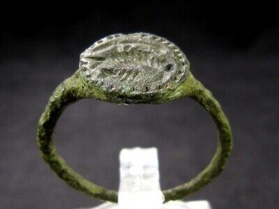 Very Rare Roman Intaglio Seal Bronze Ring, Roman Eagle Image++