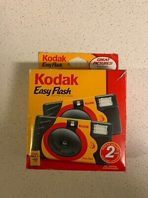 KODAK Easy Flash One-Time Use Disposable Cameras 2 Pack Exp 02/2007 Max Film-NEW