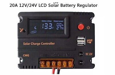 Fuhuihe 20A 12V 24V Solar Charge Controller Auto Switch LCD Intelligent Panel Battery Regulator Charge Controller Overload Protection Temperature Compensation